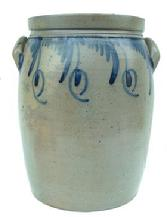 "R170 Five-Gallon  Stoneware Jar with Elaborate cobalt  decoration, Baltimore Maryland origin cira 1860. This is a beauty, with the draping flower decoration in the front and finger decorated around the top on the back  15 1/2"" tall"