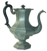 "W340 Pewter Coffee Pot, Leonard, Reed, and Barton, Taunton, Massachusetts, c. 1835, hinged lid with  black painted wooden knop, flared octagonal shoulder on baluster body and octagonal base, black wooden scroll handle,  makers' marks on base,  12 1/2"" tall"