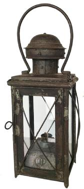 U51 19th century Oil burning  Lantern ,with a removable  , flared four sided tank, The wick burner was made by Oelbrenner. Rolled and tinned iron construction, removable top, with a vented chimney.