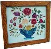 "Contemporary Hand painted Theorem four Seasons on fabric, having deep blue compote filled with flowers, the frame in original paint decorated frame 19"" x 20 3/4"""