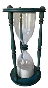 RM1085 Original Blue painted oversized Hourglass, blown glass with sand running approximately one hour encased in a wood base and top with three spindles.  Circa 1940.  Measurements: 23 1/4� tall x 11 1/4� diameter