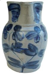 Y347 19th century  Small-Sized Cobalt-Decorated Stoneware Pitcher, Baltimore, MD origin, circa 1870,  decorated with a brushed cobalt design of double-stemmed clover plant. Collar decorated with brushed cobalt leaves. Unusual size, measuring approximately one-half-gallon to three quarts. . excellent condition