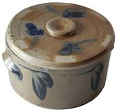 "C365  Baltimore small one-Gallon Cobalt-Decorated Stoneware Cake Crock with Lid,  ""P. HERRMANN,"" Baltimore, MD origin, circa 1880, cylindrical crock with squared rim and applied tab handles, decorated with brushed cobalt design around lid and crock"