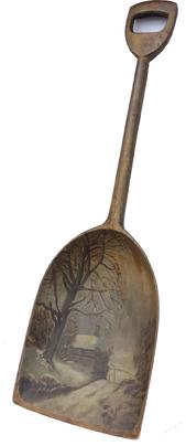 "C431 19th Century  Painted wooden  Shovel.This antique wooden  shovel is decorated with a House in the snow  beautiful art work, hand painted  scene on the scoop.Made form one, single piece of wood, originally used for turning malt in a drying chamber . Measurements are:36"" long x 11 1/2"" wide"