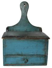 C511 New England blue painted Hanging Wall Box, circa 1800 dovetail construction pine hanging Wall Box in light blue paint with pie board handle hanger