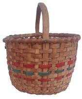 Z480 Early 20th century Gathering Basket from Delmar Delaware, with a single wrap rim and a kicked in bottom, steamed and bent handle with two red band and one green.