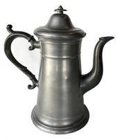 E74 Early 19th century Maine  Rufus Dunham  pewter Coffee Pot, Rufus Dunham was a Maine pewterer working from 1837-1861 in Westbrook. Tea and coffeepots were popular items with him. This is the lighthouse form. The pewter is in good condition,