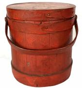 F900 Antique Firkin C Wilder and Son South Hingham Mass 19th Century stampon on the lid, in old red paint