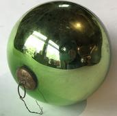 E515 Beautiful antique Kugel greem Metallic Mercury Glass Ball Ornament with original German Cap. Some discoloration, as shown, but no chips or cracks.