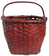 X232 Late 19th century Gathering Basket with the original red  paint, single wrapped rim, steamed and bent fixed handle , open weave bottom, for ventilation,