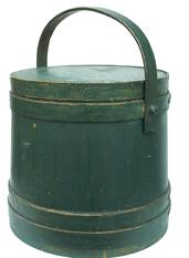 X248  Large  New England green Covered Wooden Firkin, tongue and groove softwood staved sides, tapered lap joint wood bands, bent wood handle with wood peg attachments,