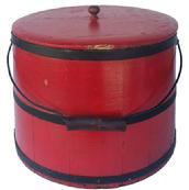 "Y192 19th century Covered Sugar Firkin with old red paint, staves sides with black painted bands, lid with porcelain knob, wire bail swing handle with handle grip.Measurements are: 10 1/2"" tall"