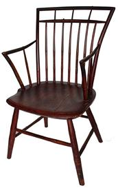 "C483 19th century AMERICAN BIRD CAGE WINDSOR CHAIRS.  retaining the original red paint,This early 19thc New England plank seat birdcage Windsor arm chair is in great condition and has a wonderful red paint .It is in sturdy condition and very comfortable .Spindles are mortised through the top of the chair as well as the arms through the back.Great form and wonderful untouched surface.. 34""h. and armchair with bamboo turnings, 33""h"