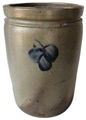 "E275 Baltimore Crock  with single clover leaf, Stoneware Jar Peter Herrmann  with Cobalt Floral Decoration, Baltimore, MD origin, circa 1875, cylindrical jar  decorated with acobalt clover on the front and back good condition 12"" tall x 8"" diameter"