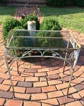 "A255  Antique cast iron  consol Table c.1920 rectangular garden table with glass top and in great condition. Heavy casting. ,This Table can be used  inside or out. 32"" long x 22"" deep x 29 1/2"" tall"