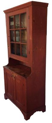 A222 19th Century Pennsylvania  Step Back Cupboard with beautiful Original Red Paint. Molded cornice, nine pane glazed upper door, nice high open pie shelf