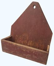 RM1057 19th Century Pennsylvania Wall Box with it�s original red paint, white pine one board square-head nailed construction. measurements 14� tall 11 3/4� wide 5 1/4� deep