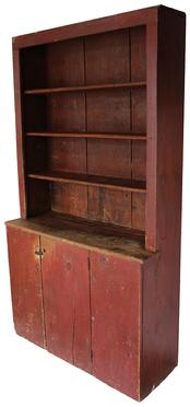 D158 Late 18th century open top Stepback Cupboard from Maine, this white pine cupboard has a single door below three open shelves, nice moled front edge to the shelves. Each shelf has a plate grove, with three wide back boards held in place with rose head nails circa 1780