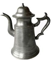 E73 Sage & Beebe pewter coffee pot with hinged lid and gooseneck spout Title: Pewter coffeepot . circa 1845. Sage and Beebe St Louis Mo