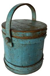 "F206 - Stuning Robin Egg Blue painted firkin  with steamed and bent finger lapped joints with tiny square nails and copper tack construction.  Age appropriate patina inside.  Measurements:  9 1/2"" tall x 9"" top diameter"