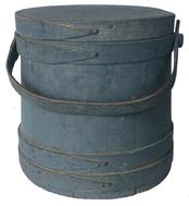 "V330  Gray  original painted wooden Firkin,The Firkin sides and top are surrounded by a simple overlapping bentwood bands, secured by small copper tacks.9 1/2"" diameter across the top 10""  across the bottom x 9 3/4"" tall"