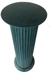 "RM1018  Eastern Shore Maryland  elegant  wooden fluted display pedestal with old blue paint is heavy and steady.  It could be a beautiful accent piece for your space. circa 1925 Condition: Measures: 30"" tall x 11 1/4"" diameter (top), 11 1/4"" (bottom)."