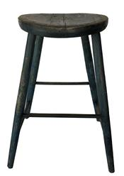 "L23 Early 19th century  Windsor Stool from New England,  saddle  seat is 14"" diameter, heavily carved and worn, chamfered outside, early blue over the original blue  paint . bamboo turning. Great splayed legs 26 1/2� tall"