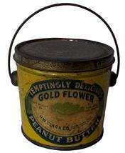 F743 Gold Flower Brand Peanut Butter Pail Circa 1920s: Packed H.W. Clark C0, North Adams Mass. And Pittsville Mass this one pound Gold Flower, Peanut Butter tin features classic blue and white and yellow tin lithography of a flower,