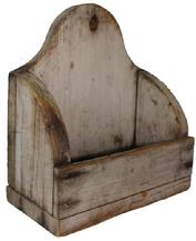 "RM789  18th century Wall Box with the original dry white paint, nice high arched back, hole for hanging, nail construction with tee nail circa 1780 Measurements are:9"" wide x 10"" tall x 4"" deep"