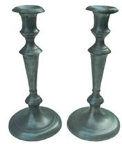 "X300 Pair of 19th century pewter  candlestick Unmarked. With  removeable drip tray,  In very good overall condition   10"" tall"