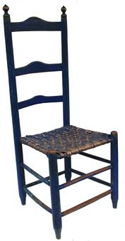 "C236  Late 18th century Ladder Back Chair with the original indigo blue painted three graduated ladders in the back nice turning finial on top the ladder are pegged in , original split ash seat, Measurements are 17 1/4"" wide x 14 1/4"" deep x 42"" tall"