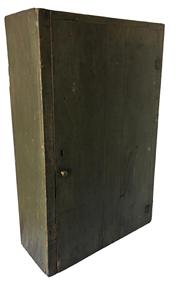 "D318 Late 19th century single door Hanging Cupboard, in the original green paint, all squard head nail construction,  all natural patina inside. 7 1/4"" deep x 17 "" wide x 27 3/4"" tall"