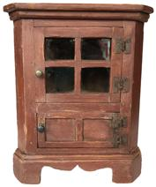 "D572 Rare Eastern Shore Virginia painted 19th century  Miniature  Corner Cupboard , single glass door over a single  door below,    with the original hand made H hinges, with applied bracket base. Measurements are: 13 1/4"" tall x 8"" deep"