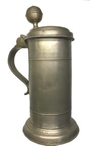 "E262 18th century pewter tankard with round finial knob. Stamped inside lid with hallmarks. Owners name and date on top.  """"J.A. Barmig  1785 ""  Good condition cylindrical style body measures 8 inches tall with a 4.5 inch base."