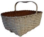 "C73 Gathering Basket with original white paint, steamed and bent and knotched handle, single wrapped rim  Measurements are 20"" long x 12"" tall x 12"" wide"