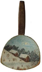 D14 Mid 19th century Wooden butter paddle painted with a winter vignette of a rural landscape, including two buildings, and trees, in the snow .