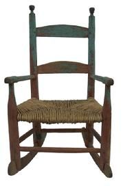 "X341  Child's  arm chair rocker  with the old blue paint over original red.  circa 1840 measurement are:25"" tall x 14"" wide"