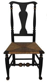 "This outstanding Queen Anne  Hudson Valley, New York ( Circa 1730-1750)  Bannister back side chair fabulous  proportion features a yoke-crest rail above turned and tapered rear post  beautiful ambitiously turned front posts. The rear posts taper forming the conical feet and are joined to the beautifully turned and tapered front legs by box stretcher...the front stretcher being boldly turned. Please notice the front out swept feet . This rarely encountered example remains in excellent condition...  Dimensions: height: 41""; width  is 20""; depth of seat; 15""."