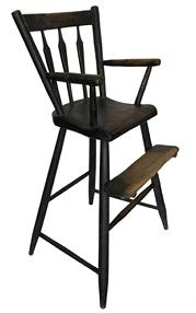 D501  Early 19th century Windsor Black-painted   High Chair, New England, c. 1810, with bamboo turnings, ht. 32, seat ht. 20 3/4 in.