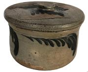 E429 MID-ATLANTIC DECORATED SALT-GLAZED STONEWARE BUTTER CROCK, straight-side form with squared rim above a single incised ring,, brushed cobalt feather decoration, with the original lid, very small size  7 3/4 diameter x 4 1/2' tall