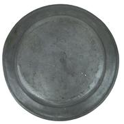 "U404  Large 18th Century Pewter Charger 16 1/2 inches diameter  1"" deep, with 2 1/4"" rim with bead around edge. Stamped with makers mark on back"