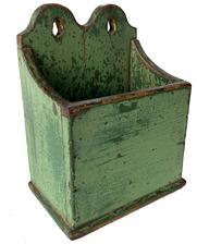"RM1212  Beautiful Double Tombstone  Hanging Wall Box In Green Paint.  New England, late 19th century Made of poplar Wood, iron brad construction  Having double scroll cut tombstone back In worn old light green paint over original green Original have  No cracks or repairs   Age & usage wear  6-1/2"" wide x 8-1/2"" tall x 4-1/2"" deep"