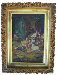 "X253 19TH CENTURY OIL PAINTING ON BOARD, of barnyard scene with chickens, 1880-1920 in original  gold gilded frame. Measurements are 9"" x 12"""