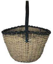 "D513 Eastern Shore Maryland gathering basket with white and soldier blue paint. Overall height of the basket is 19"" to top of the handle. Woven part of the basket is gracefully tapered"