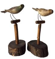RM463  Two Birds on stands, beautiful colors, hand carved  circa 1940