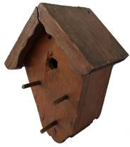 X352 Eastern Shore Maryland Bird House with old weather surface the wood is pine, wire nail construction circa 1940's