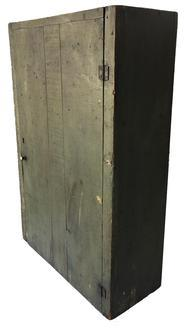 D318 Late 19th century single door Hanging Cupboard, in the original green paint, all squard head nail construction,  all natural patina inside