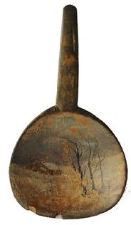 D15 19th century antique treen butter paddle with a desirable folk art hand painted  cabin and trees