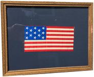 "D333 Silk and cotton flag ca. 1866-90. . Framed in a gold frame.Small framed U.S. 13 star Flag 2 3/4"" x 5 3/8"""