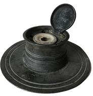 "E166 18th century  Pewter ships inkwell, fitted with six quill holes and original porcelain liner. The wide base prevents ink spillage.7"" diamter x 2"" tall"